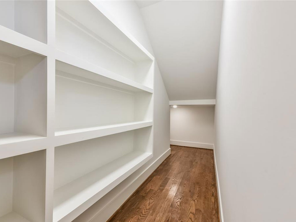 Extensive storage in the walk-in pantry.