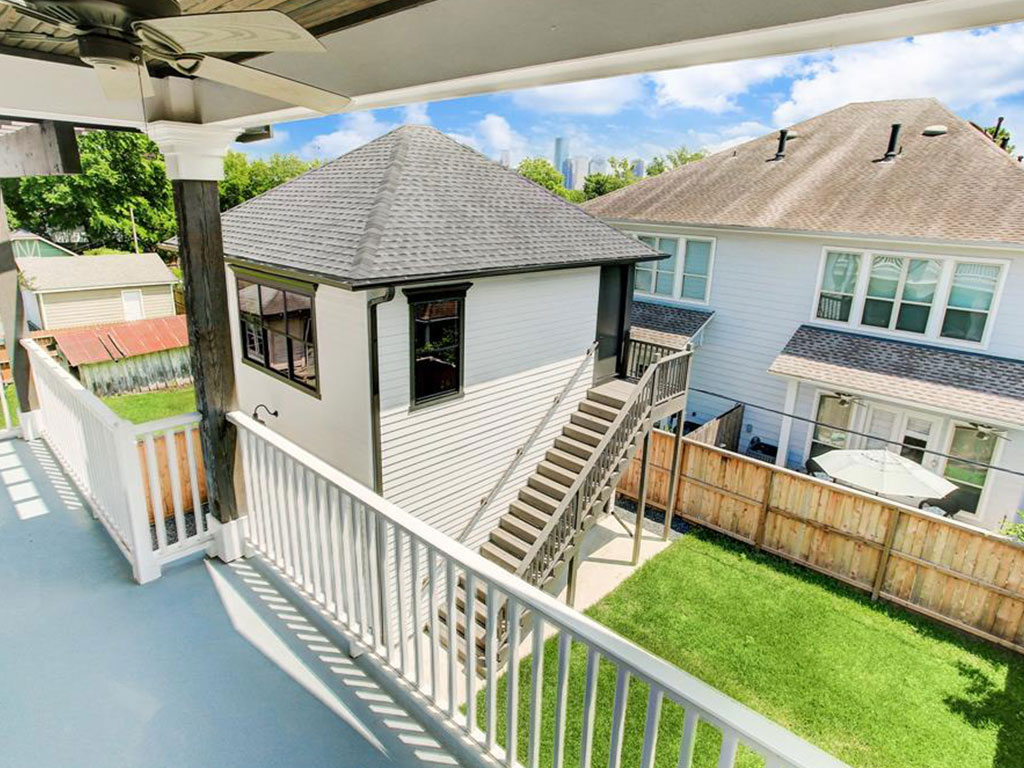 Balcony is 27 feet long off the master bedroom with views of the back yard.